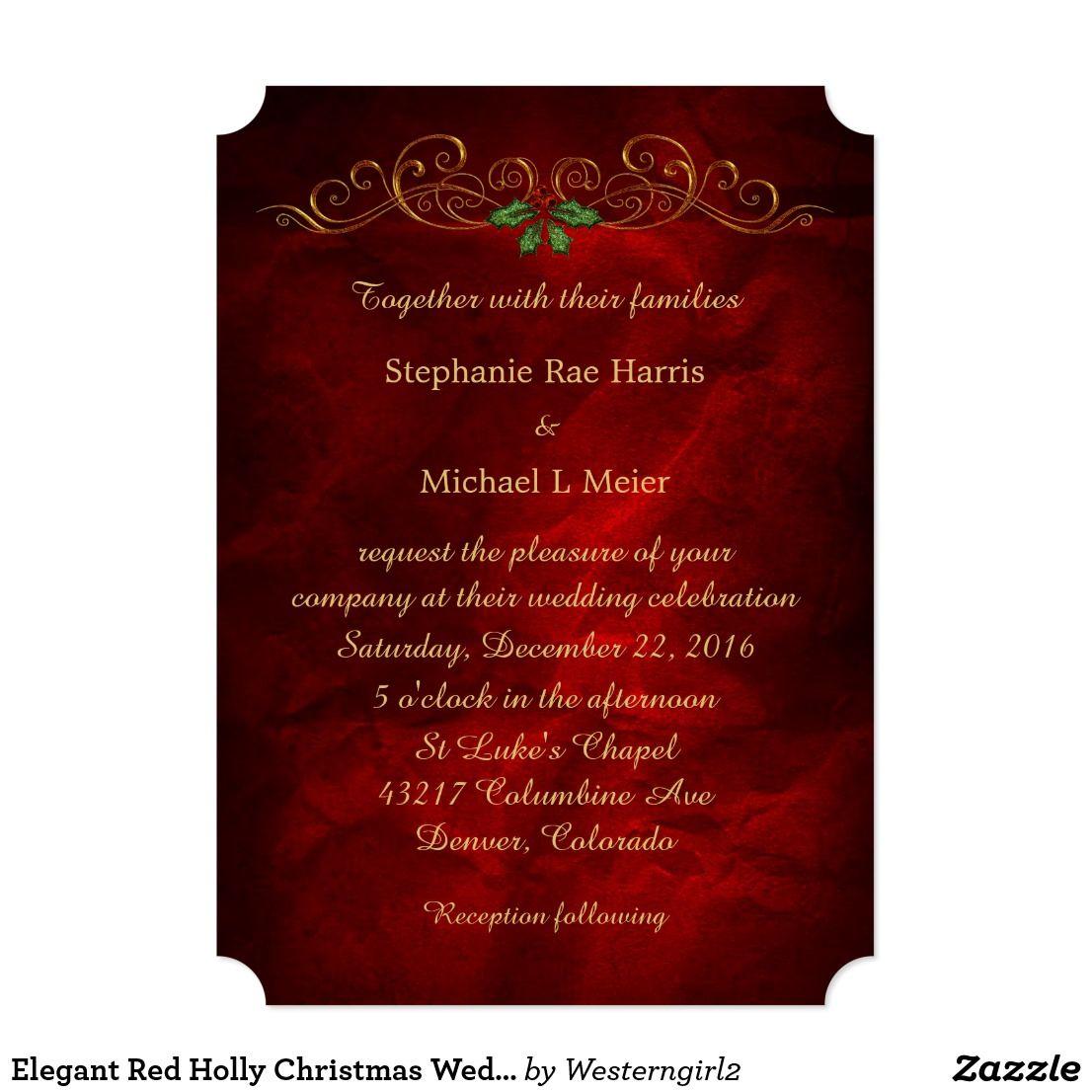 Elegant Red Holly Christmas Wedding Invitation   Winter Wedding ...