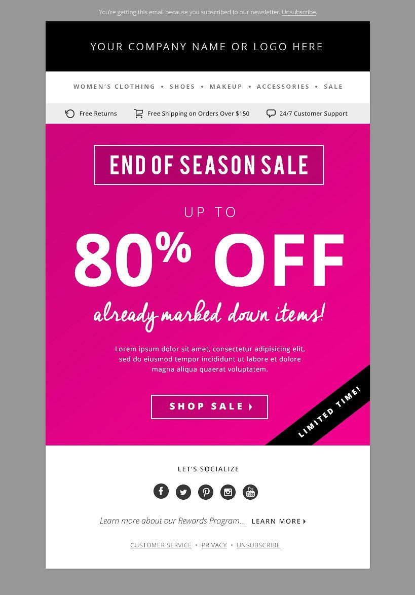 Fashion Email Template Psd Bundle Pinterest Template And Fonts
