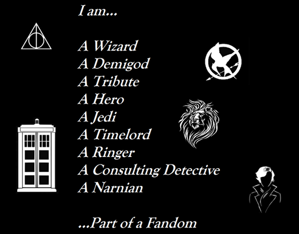 Harry Potter, Percy Jackson, Hunger Games, Star Wars, Doctor Who