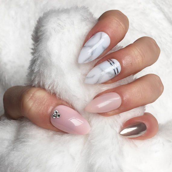 Light Pink Marble Chrome Crystal Press On By Crystalnailboutique Fake Nails Marble Acrylic Nails Almond Acrylic Nails