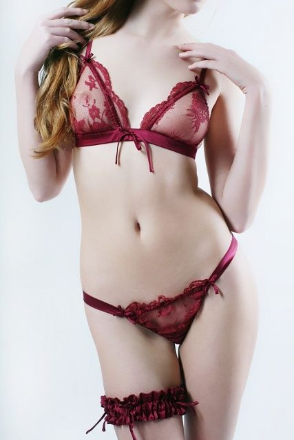 Rosa Burgundy Lace & Silk G-String £55.00 - Lingerie - Thong/G-strings Luxury Lingerie and Designer Lingerie Online Boutique