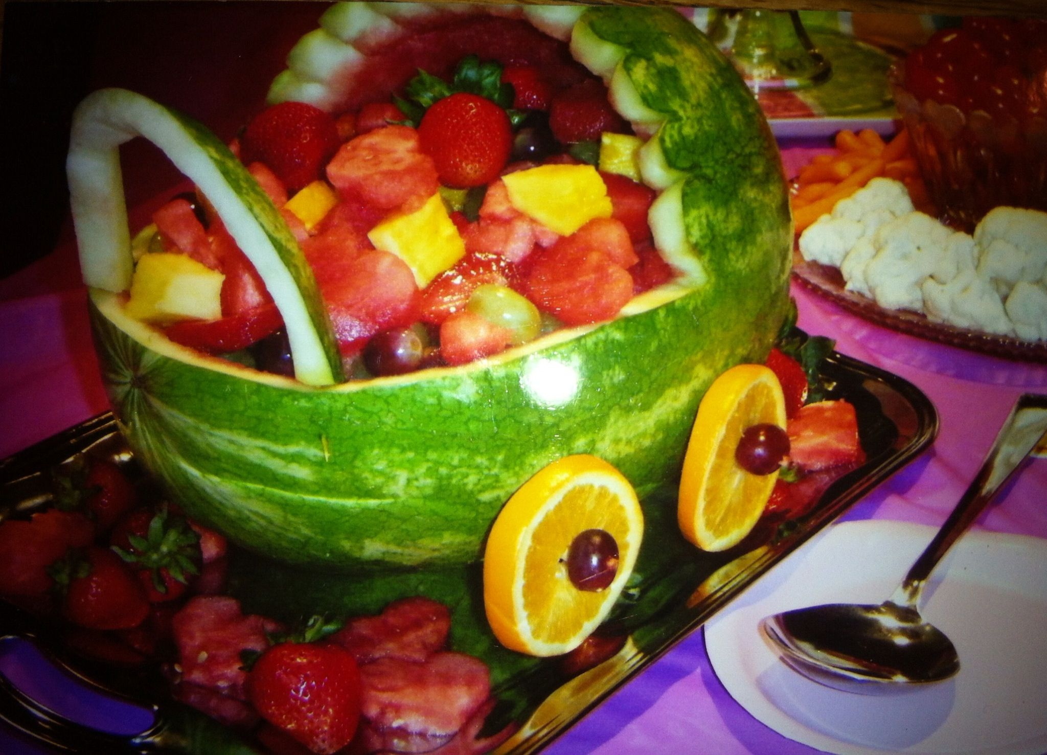 Baby Buggy Watermelon Basketgreat Centerpiece And Serves Well With Cup