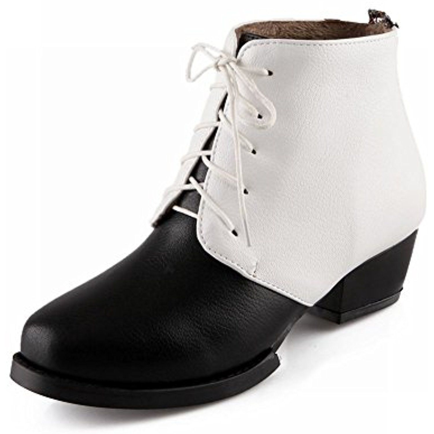 Women's Fashion Leather Ankle-high Mid-heel Chunky Boots Rhinestone-decorated Lace-up Mixtz Boots