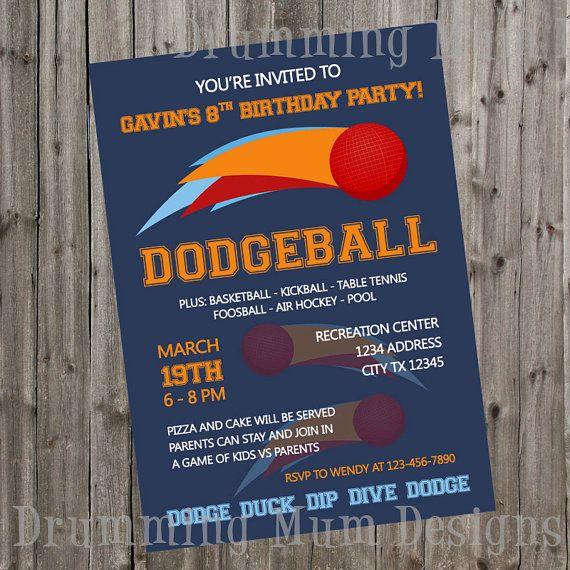 Dodgeball Birthday Invitation Dodgeball Invite Birthday Party Boy