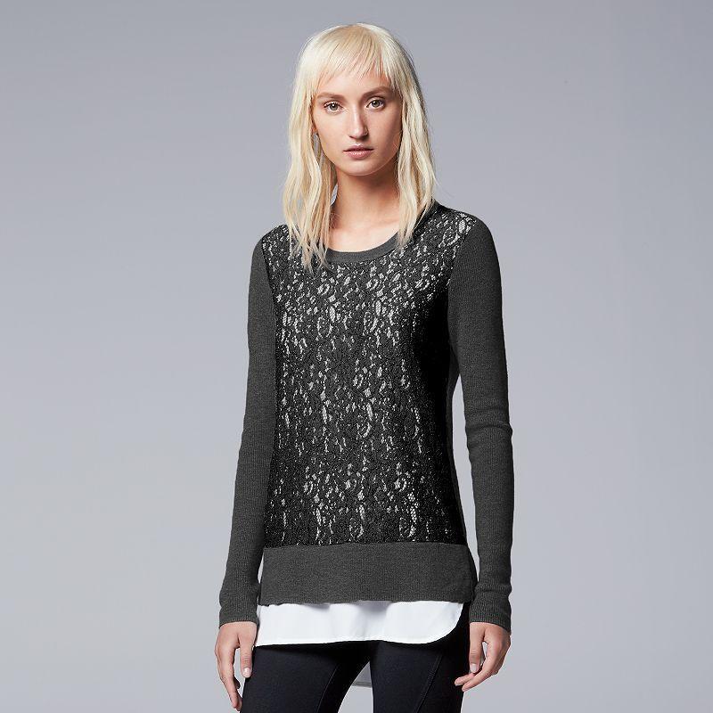 Women's Simply Vera Vera Wang Lace Mock-Layer Sweater, Size: