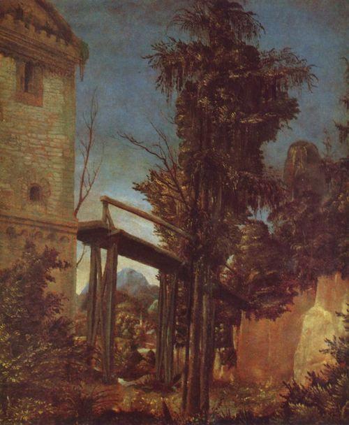Landschaftsmalerei renaissance  Albrecht Altdorfer. Landschaft mit einem Steg. Um 1516, Pergament ...