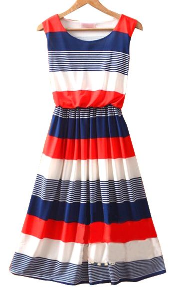 0d0e4cc1611f Red Round Neck Sleeveless Striped Mid Waist Dress : The 4th dress ...