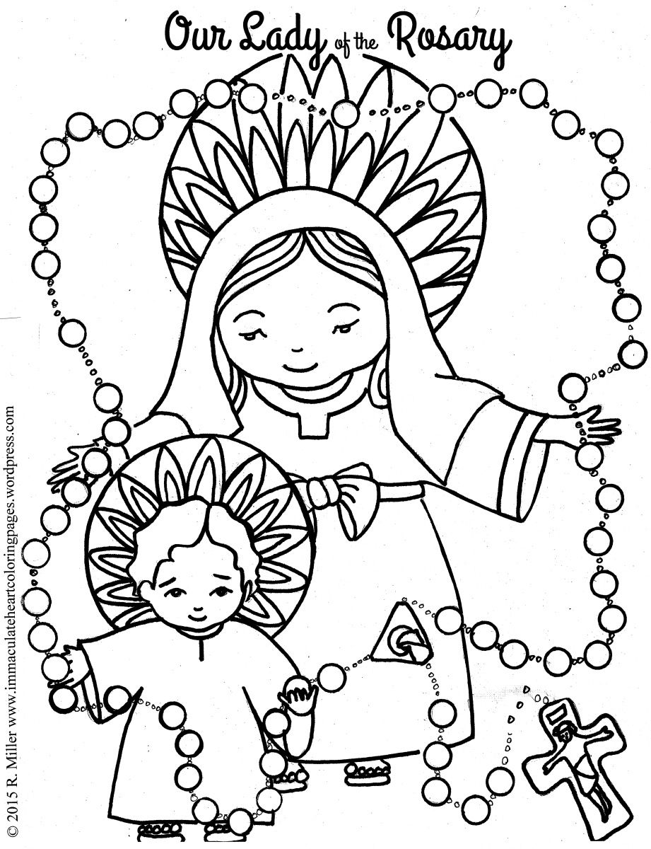 Our Lady of the Rosary Coloring page Free printable and Catholic