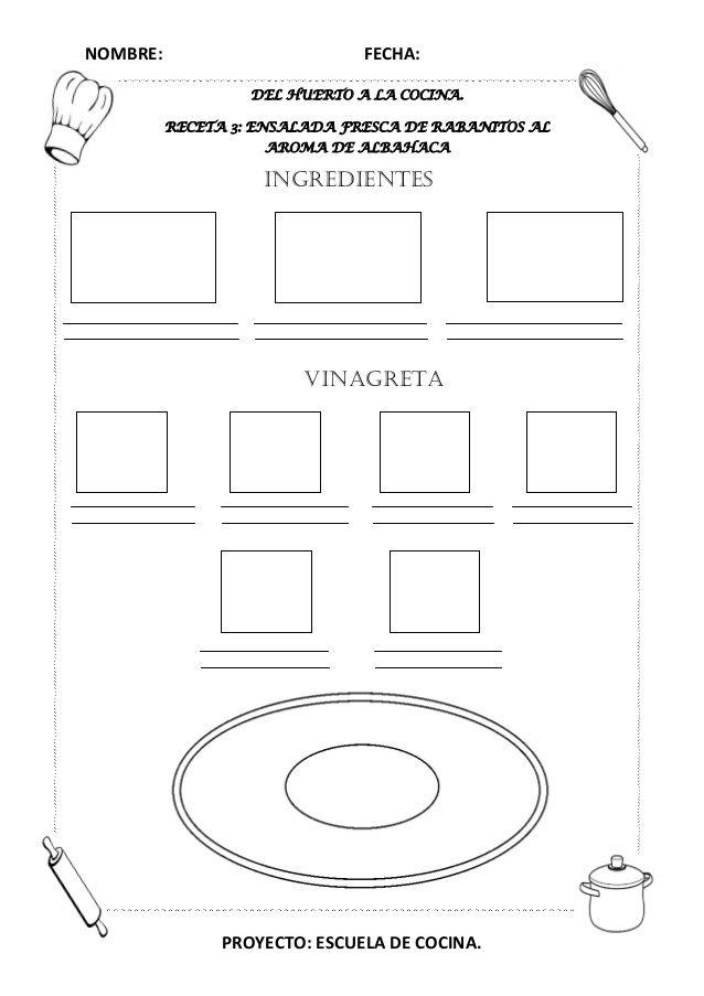 Proyecto Escuela De Cocina Fichas Y Otros Recursos 22 638