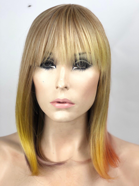 Ombre pastel multicolor bob w short fringe bangs wig top