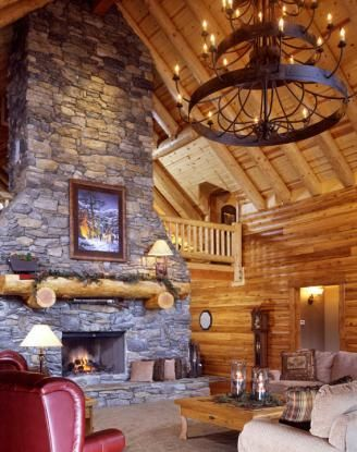 Log Home Great Room With Fireplace And Balcony Log Home Floor Plans Log Homes Cabin Style Homes
