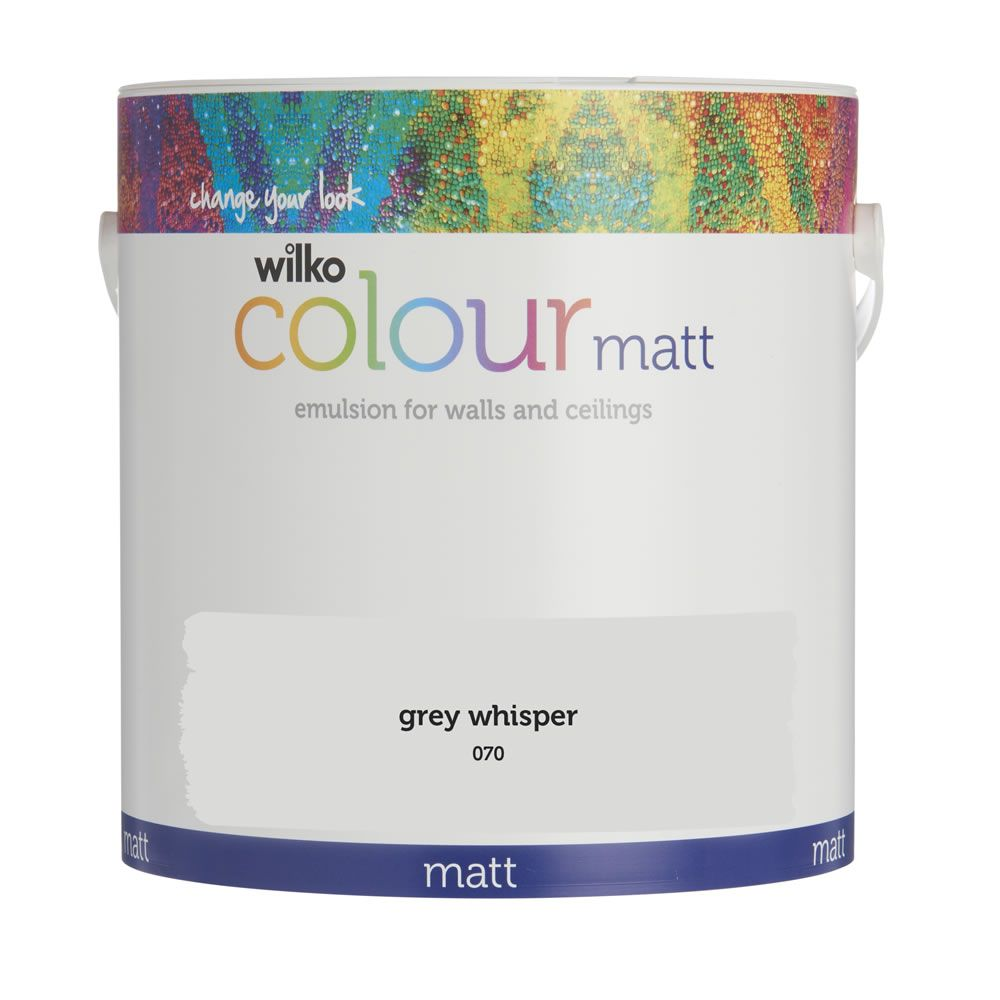 wilko matt emulsion paint grey whisper 2 5l home. Black Bedroom Furniture Sets. Home Design Ideas