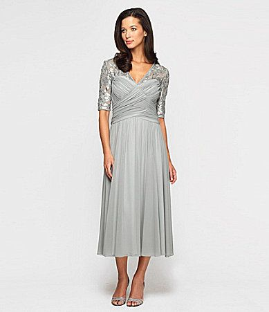 926ca345c90 Alex Evenings Ruched TeaLength Dress  Dillards for the Mother of the bride  dress.