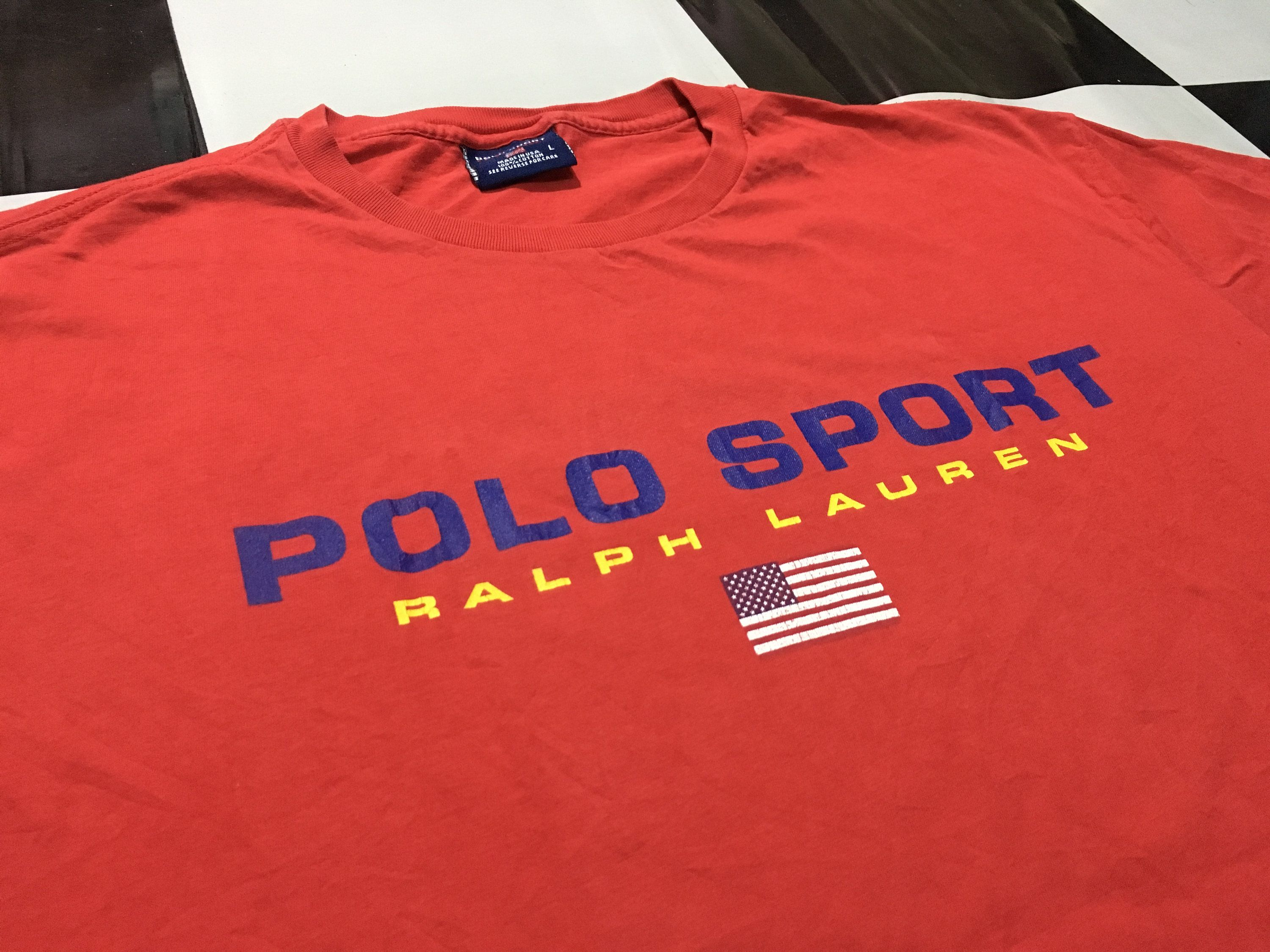 4008a0063 Vintage Polo sport shirt big logo spell out flag logo Red Size L Good  condition Made in usa Polo sport ralph lauren by AlivevintageShop on Etsy