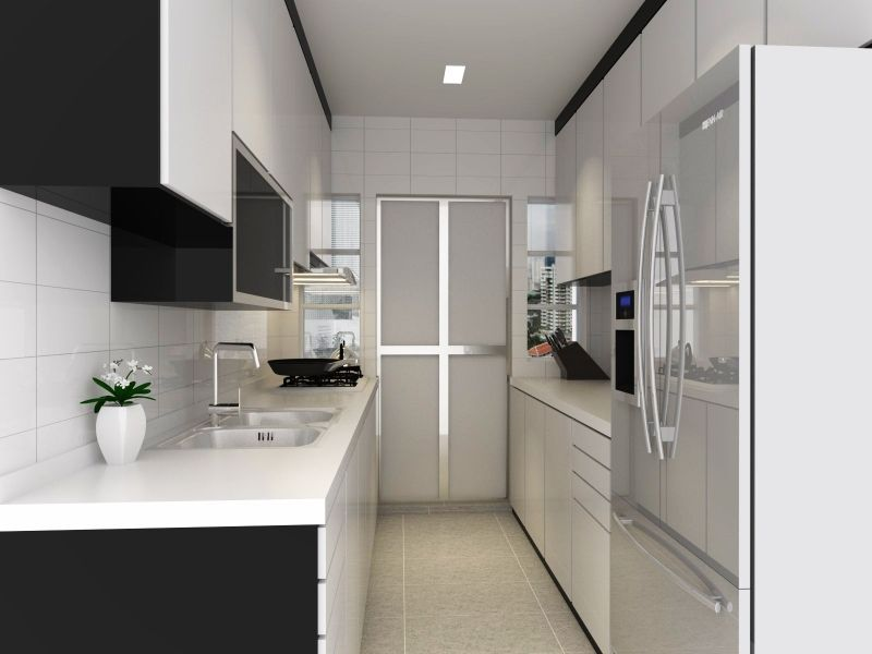 2 sided kitchen but a little tight though home design for Tight bathroom design