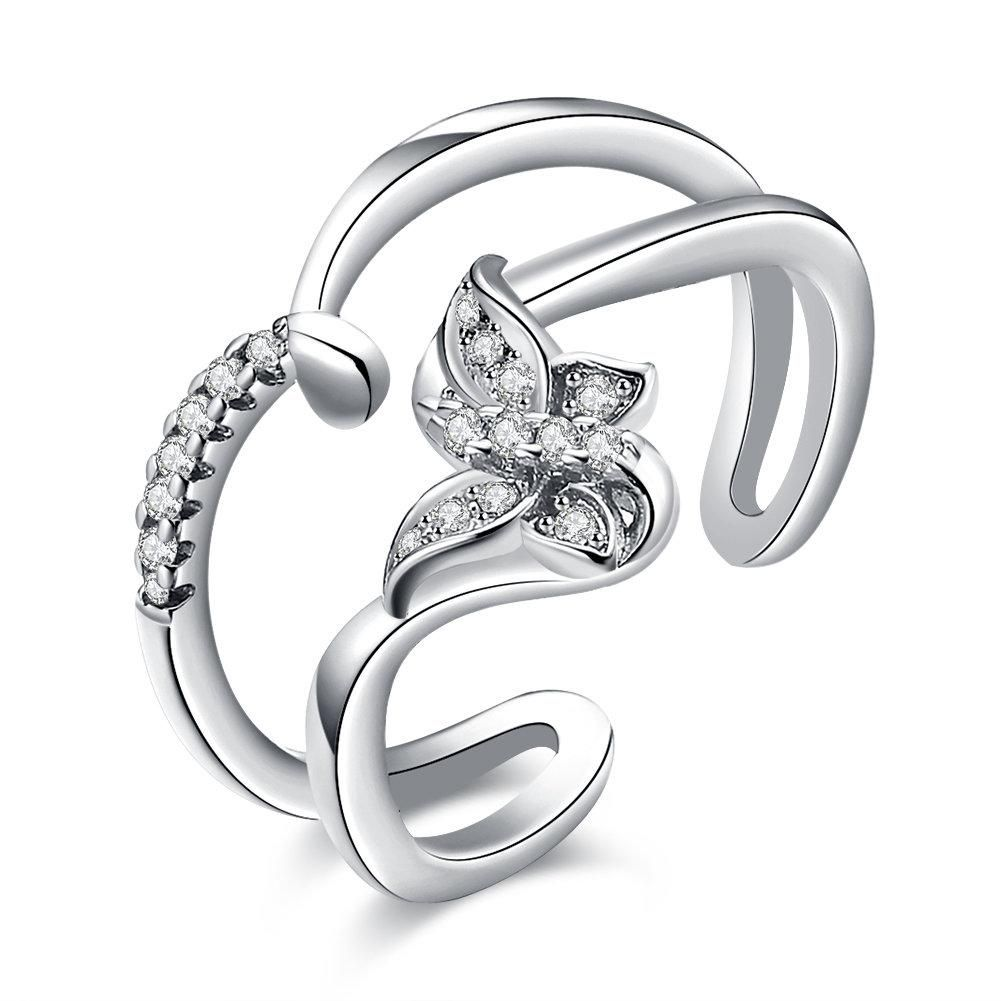 Luxury Platinum Ring Butterfly Adjustable Zircon Ring Womens Jewelry Rings Zircon Ring Platinum Ring Price