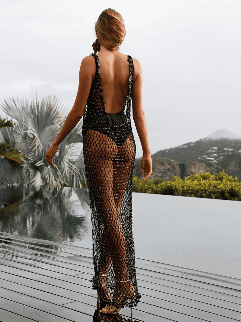 alara black beaded maxi dress in 2020 | beaded maxi dress