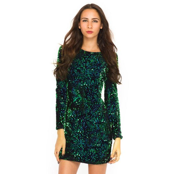 f854934dfc MOTEL DELUXE Gabby Sequin Plunge Back Dress in Iridescent Green ( 74) ❤  liked on Polyvore featuring dresses