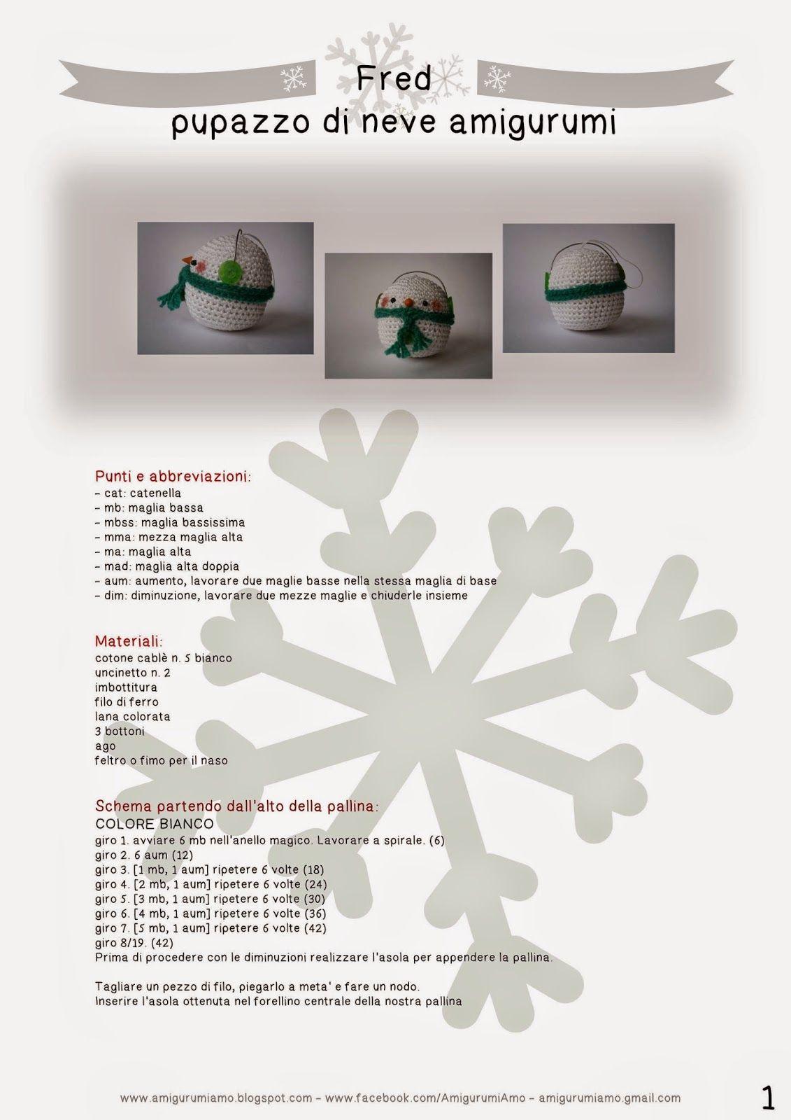AmigurumiAmo: #4 Natale: Fred il pupazzo di neve amigurumi ...