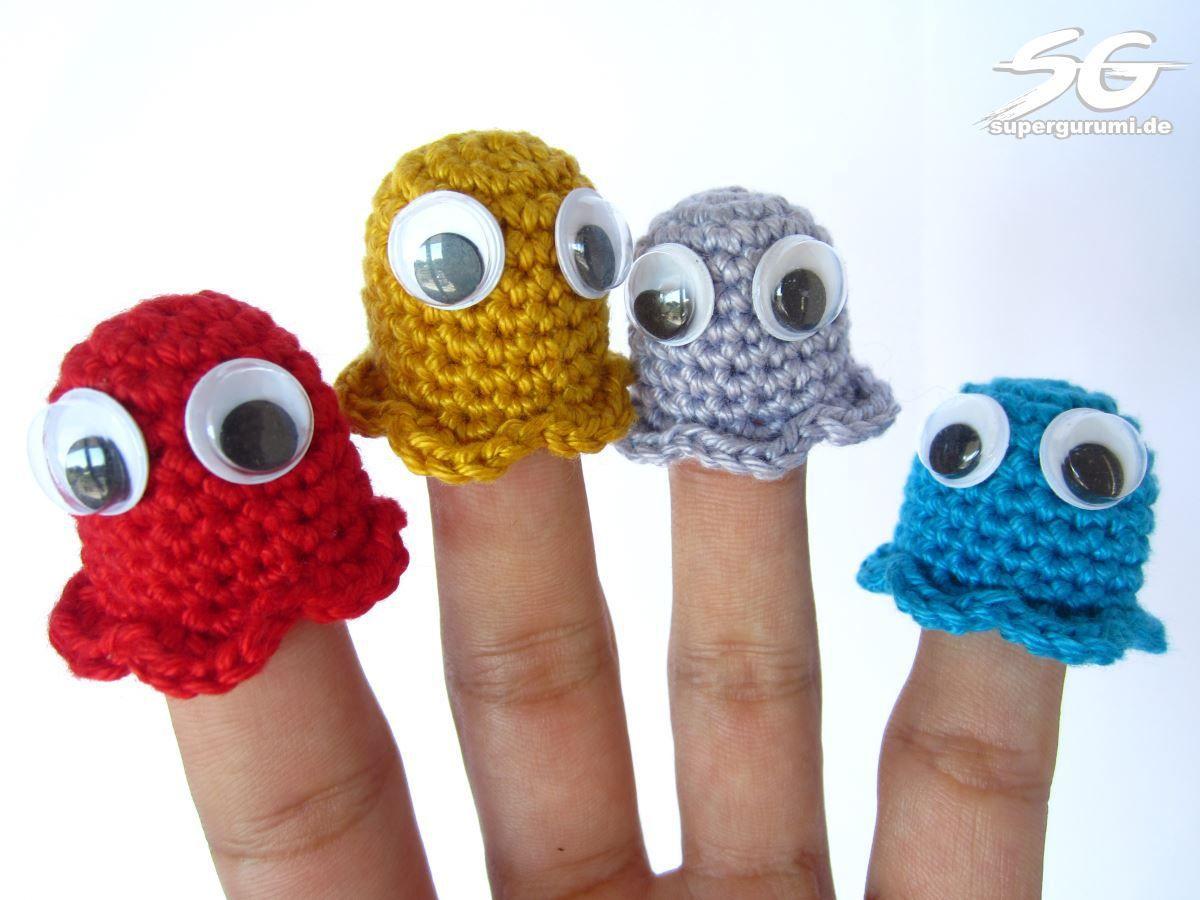Pacman Geister Fingerpuppen Häkeln Häkeln Crochet Finger