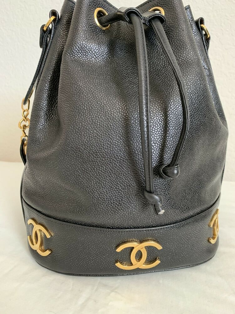 dafdca6367fa Authentic Chanel Vintage Black Caviar Drawstring Bucket Bag ...