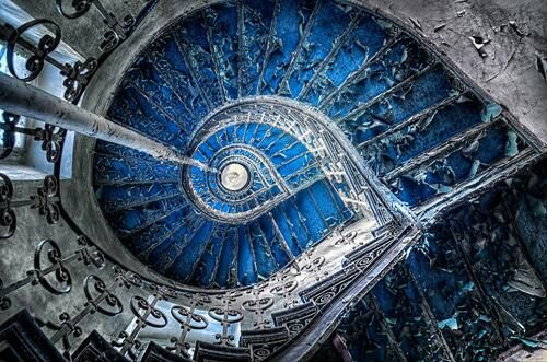 A staircase of an abandoned palace, Poland
