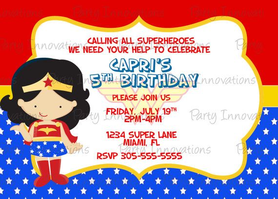 Printable Wonder Woman Birthday Party by PartyInnovations09 1000