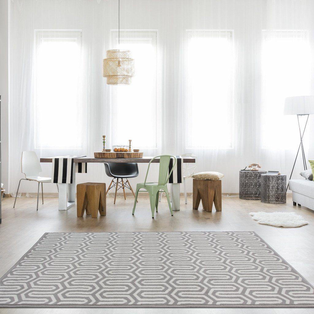 Milan Grey Beige Grey Beige Intricate Geometric Modern Design Living ...