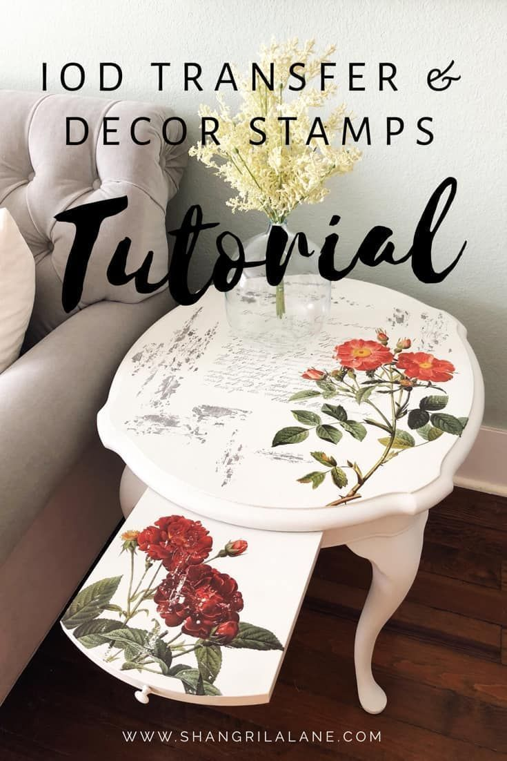 IOD Transfer And Decor Stamps Tutorial is part of Painting wood furniture - IOD Transfer And Decor Stamps Tutorial I was out picking the other day and I suddenly found a pair of matching Thomasville side tables with pull out trays  I knew they'd be perfect for testing out …