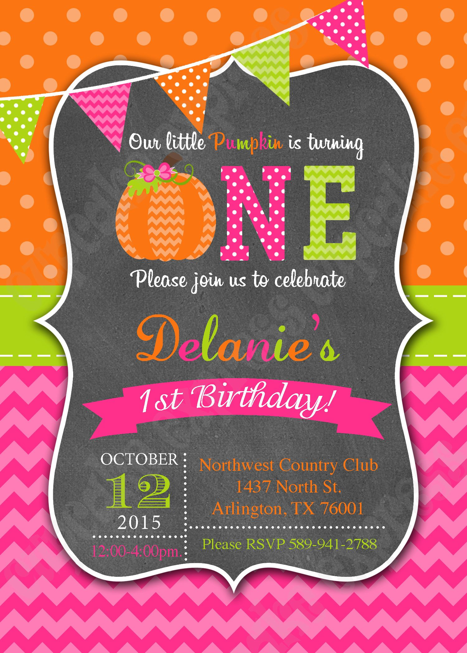 Pumpkin patch first birthday party invitation printable 1st ...