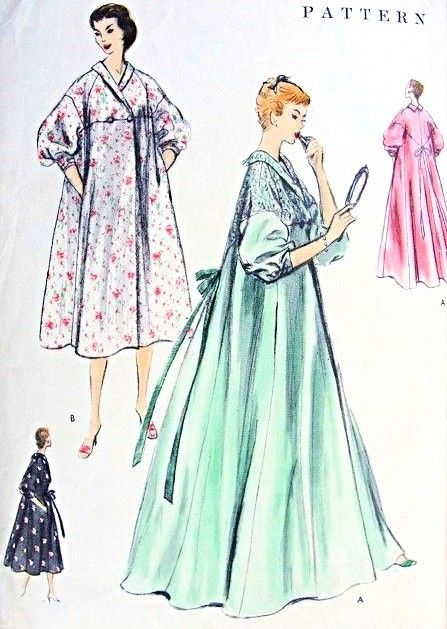5e07e10d55 1950s Negligee or Brunch Coat Robe Hostess Gown Pattern Vogue 8724  Glamorous Regular or Full Length Housecoat Beautiful Sleeves Medium Size Vintage  Sewing ...
