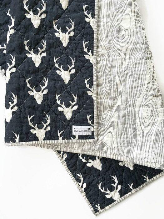 Couette bébé moderne Quilt-Modern Toddler Patchwork Quilt-Baby Baby Blanket-Handmade Quilt-Baby Quilts pour vente-Deer Woodgrain rustique-Wholecloth