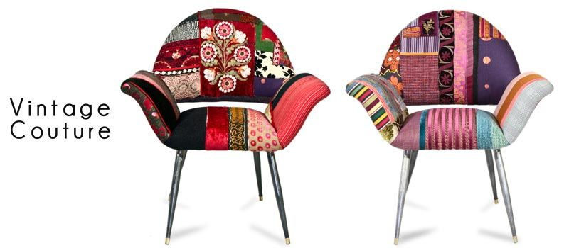 Vintage Couture:  More bohemian patchwork chairs.