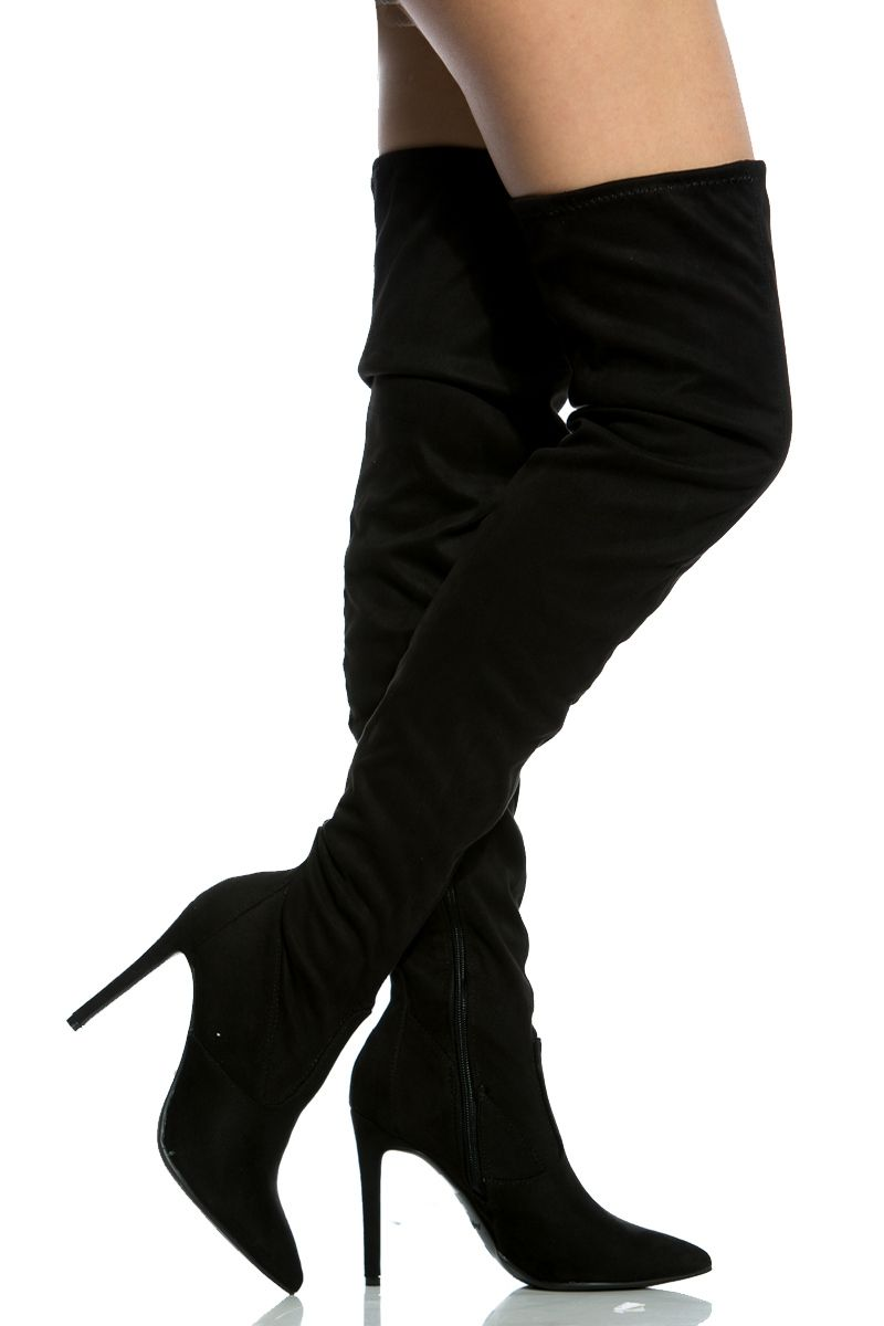 77c6afcc50b Black Faux Suede Thigh High Pointed Toe Boots @ Cicihot Boots ...