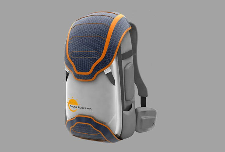 The backpack comes equipped with solar panels. The outer surface bearing the solar panels…