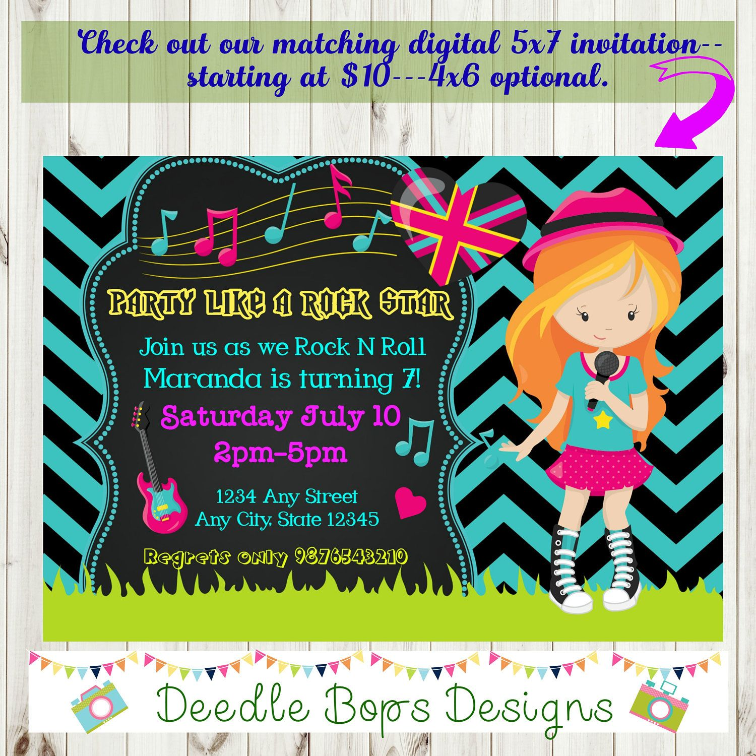ROCK N ROLL Birthday Invitation - Girls Rock N Roll Party - Rock N ...