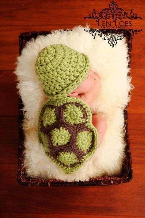 crocheted baby turtle cap and shell.  need to come up with a pattern..