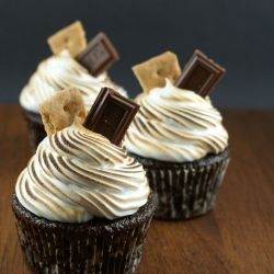 Chocolate Smores Cupcakes By TasteSpotting