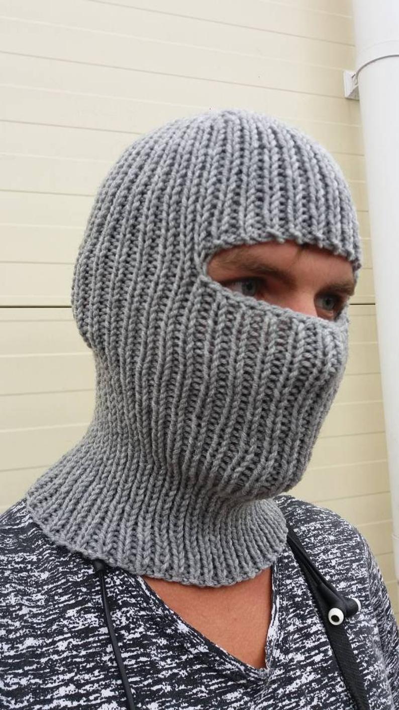 Hand knit sport winter balaclava face mask hat helmet ski