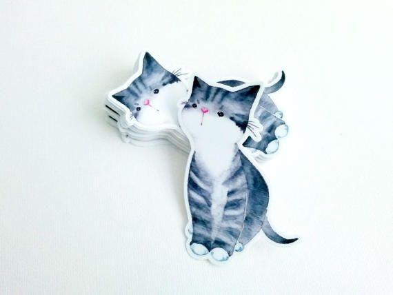 Watercolor Sticker Watercolor Vinyl Decal Cat Sticker Craft - Vinyl decal cat pinterest