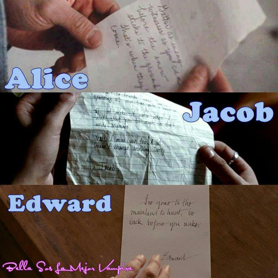 La letra de Alice, Jacob & Edward #cualprefieres