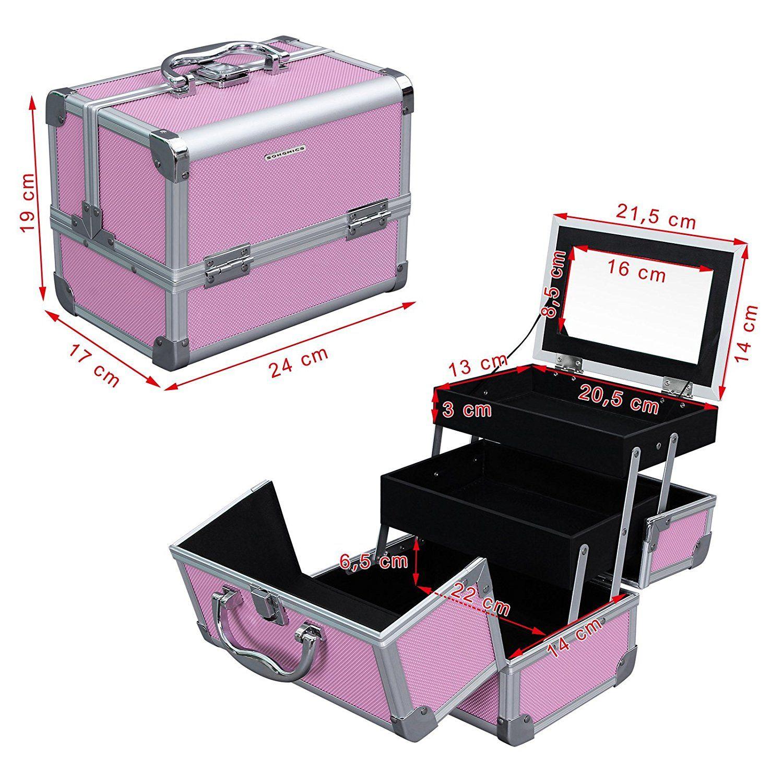 5155edf7a Maletín para Maquillaje 3 Niveles Estuche de Cosméticos con Espejo Marco de  Aluminio ABS en Rosa 24 x 17