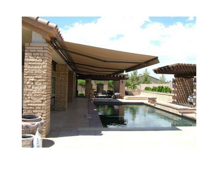 Retractable Patio Awning 13 X 10 Canopy Sun Shade Deck UV Protection Manual Sand RetractablePatioAwnin