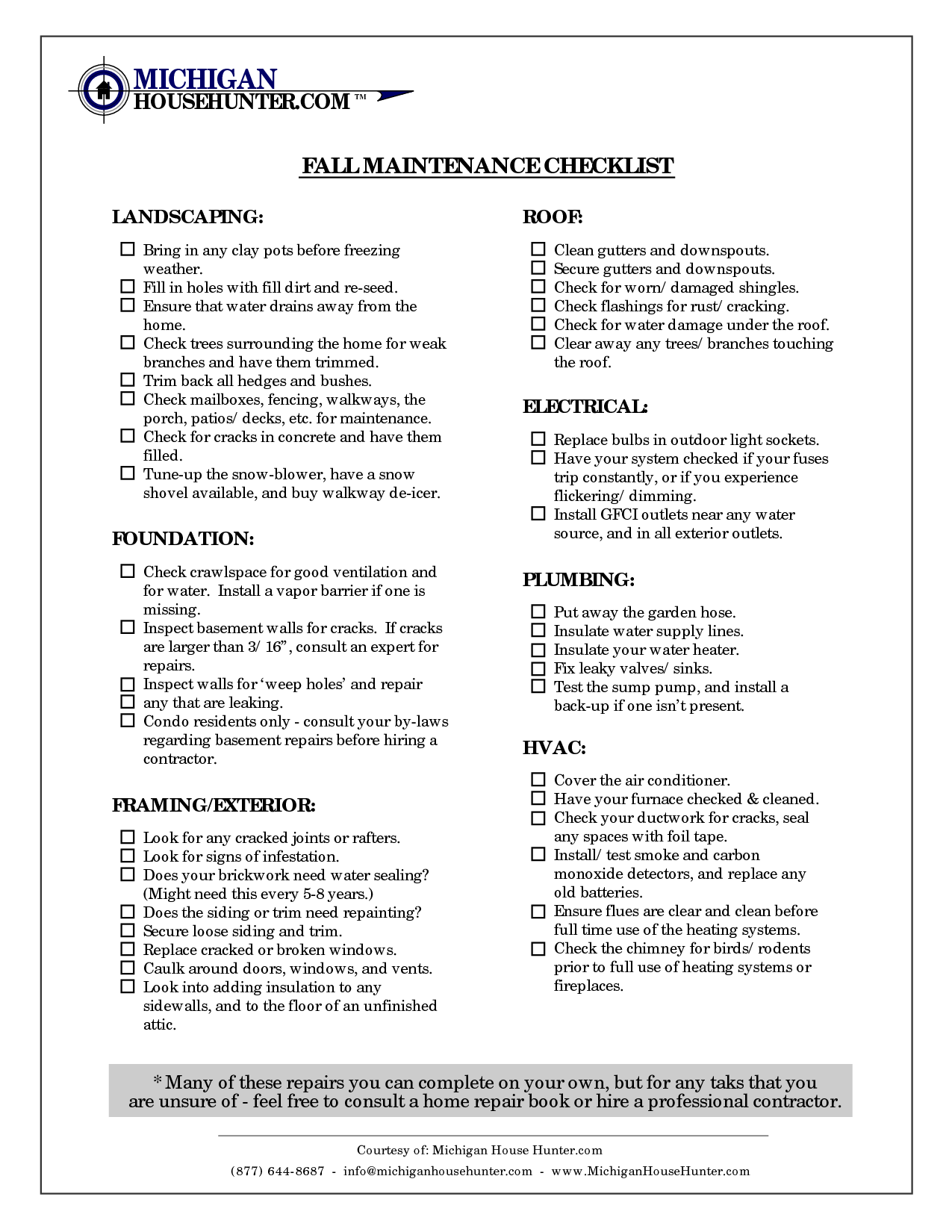 Fall Home Maintenance Checklist Home Maintenance Checklist Home Maintenance Maintenance Checklist