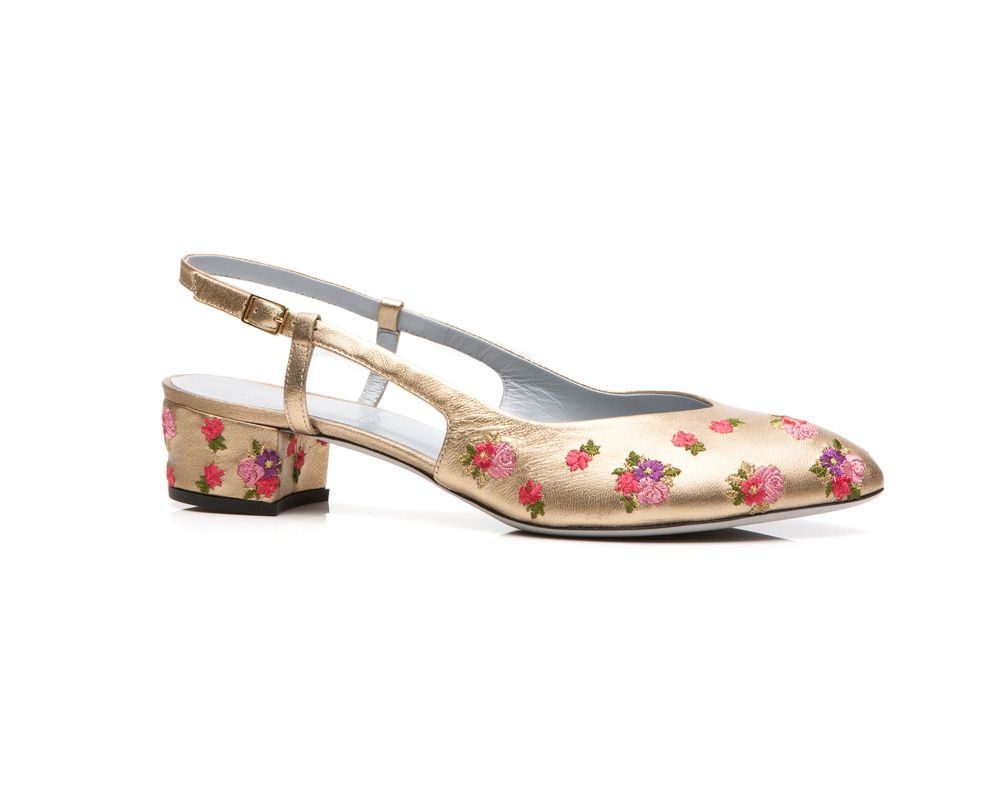 Rayne shoe GOLD METALLIC LEATHER WITH EMBROIDERED FLOWERS in Gold