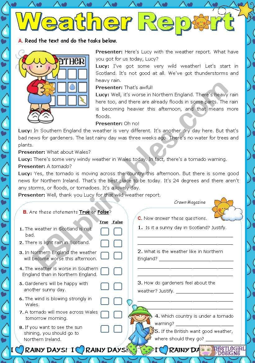 Students Read The Text And Do 2 Tasks True False Exercise And Answering Questions They Reading Comprehension Reading Comprehension Worksheets Weather Report [ 1169 x 821 Pixel ]