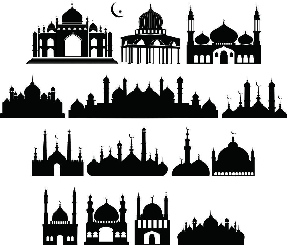 Siluet Masjid Vector Spanduk Siluet Desain