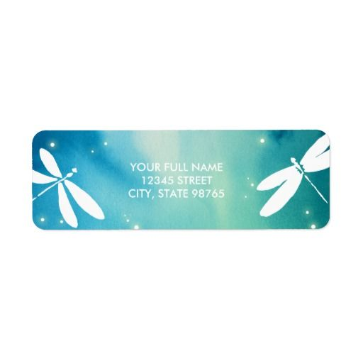 Blue Green Dragonfly Return Address Label Template Dragonfly - Wedding invitation templates: wedding address label template