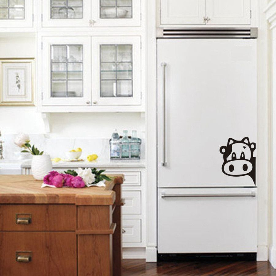 Funny Cow Kitchen Fridge Sticker , Vinyl Cow Decals For Home Kitchen ...