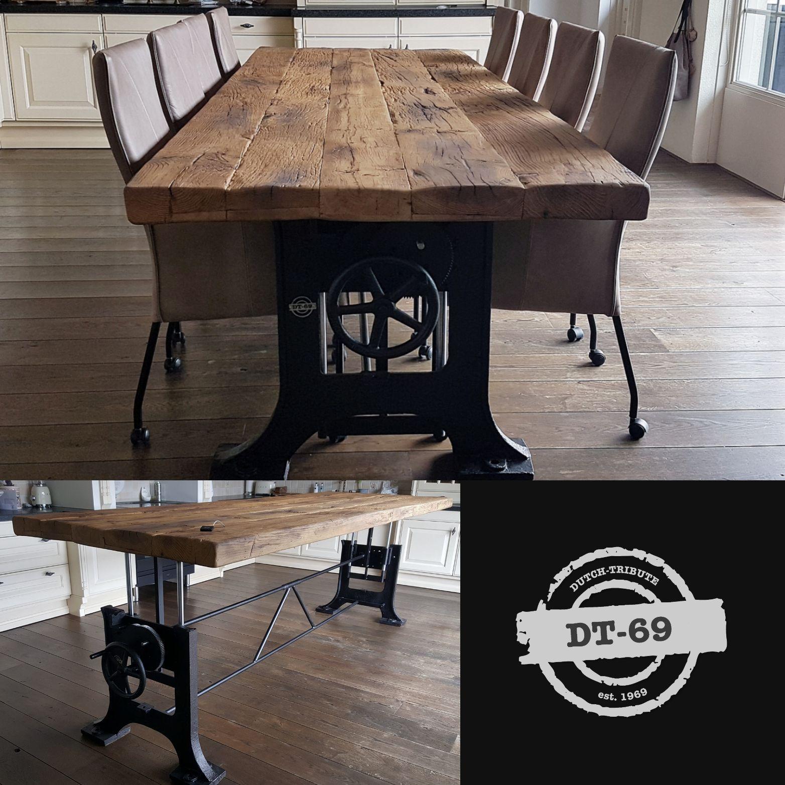Dieser Industrie Design Tisch Ist Hohenverstellbar Und Ist Hergestellt Aus Einem Paar Alten Guss Tisch Hohenverstellbar Esstisch Industrial Verstellbarer Tisch